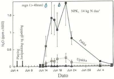 Konsentrasjon av lystgass i jordlufta i 7-12 cm dybde etter gjødsling med NH4NO3 ved ulik jordpakking.