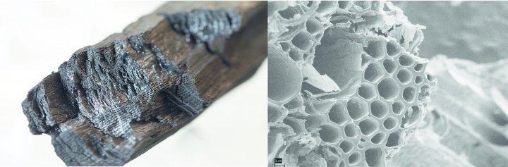 Biokull av eik (t.v.) og sterkt forstørret bilde av biokull laget av et hvetehalmstrå (t.h.). Foto: Erik Joner (tv) og Adam O.Toole