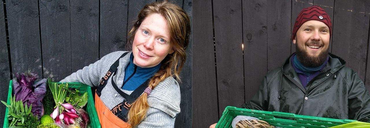 INSEKTMØKK SOM KORTREIST GJØDSEL: Hos Katinka og Grzegorz på Undeland gård i Hardanger har insektmøkk bidratt til gode avlinger i grønnsaksåkeren. Foto: Katinka Killian