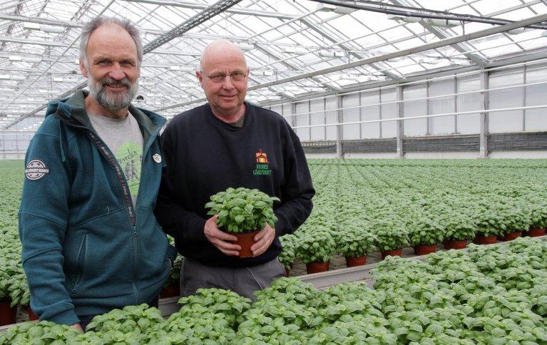 Erik Rosnes og Hans Kristian Teien samarbeider om jord og fôr. Foto: Anita Land