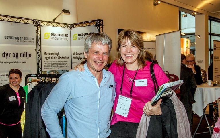 Børre Solberg, daglig leder i Oikos - Økologisk Norge, og Helle Borup Friberg, administrerende direktør i Økologisk landsforening. Foto: Jakob Brandt