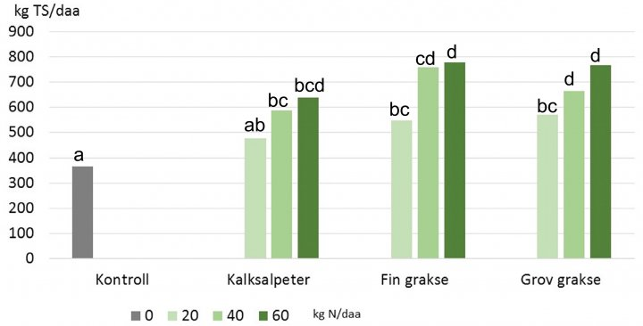 Figur 2: Tørrstoffavling i kg per dekar, sum av tre høstinger av raigras i et potteforsøk med fosforfattig jord, omregnet til avlinger i kg per daa. Kontroll= Uten gjødsel. Tre gjødselnivå ble sammenliknet, all gjødsel ble tilført før forsøksstart
