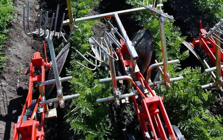 Radrensertraktor med midtmontert utstyr gir god oversikt over planterekkene og lite svinn i kjøringen. Foto: Leif Arne Holme
