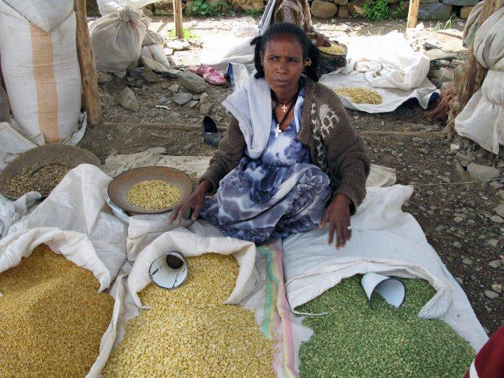 Dyrking av belgvekster øker jordas fruktbarhet. Bildet er tatt fra et marked nord i Etiopia, der linser og bønner er en viktig del av kostholdet. . Foto: Anita Land