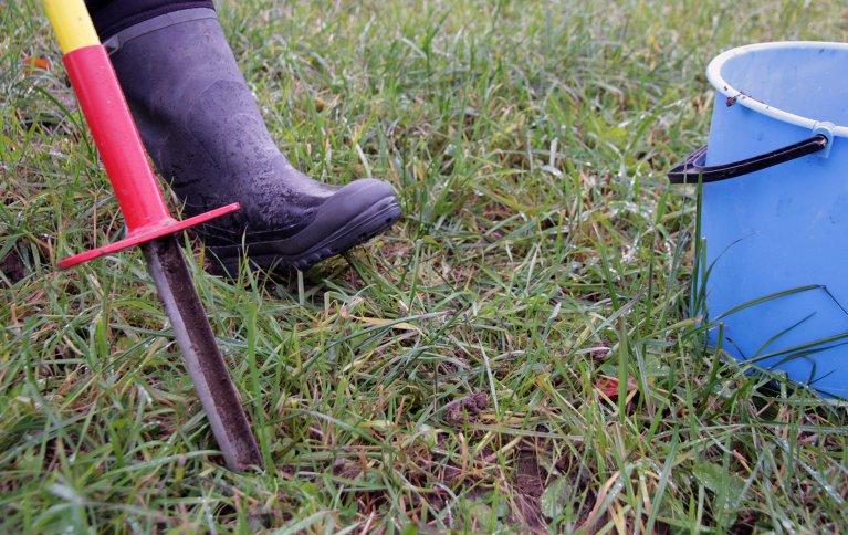 Norsk Landbruksrådgiving  tilbyr hjelp med å ta jordprøver. . Foto: Anita Land