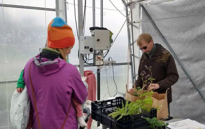 Tor Skulgam ønsker velkommen til handel med rabatt for samkjøring eller annen miljøvennlig ferdsel til gartneriet. Foto: Liv Solemdal