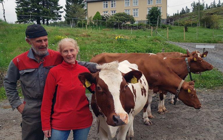 Ragnhild og Hans Erik Wold har hatt hovedinntekten sin fra melkeproduksjon siden 1988. De deler også interessen for musikk og friluftsliv. Foto: Maud Grøtta, NLR